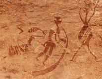 Peintures de roche de Tassili n'Ajjer, Algérie photographie stock