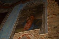 Peintures des scènes de bible sur les murs de St Nicholas Cathedral, Yaroslav Courtyard, Veliky Novgorod, Russie Photo libre de droits