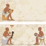 Peintures murales avec la scène d'Egypte antique Photographie stock