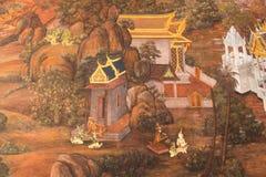 Peintures murales chez Wat Phra Kaew Image stock