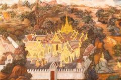 Peintures murales chez Wat Phra Kaew Images stock