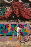 Peintures murales d'art de rue de graffiti de PARIS, FRANCE 25 juillet 2016 Image libre de droits