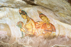 Peintures murales de Sigiriya de Sri Lanka du 5ème siècle Photos libres de droits
