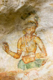 Peintures murales de Sigiriya de Sri Lanka du 5ème siècle Image libre de droits