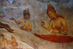 Peintures murales de Sigiriya et x28 ; Maidens& x29 de Sigiriya ; Images stock