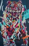 Peintures murales sur le marché sur l'avenue de Gratiot Image stock
