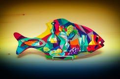 Peintures peintes à la main de poissons décoratifs de jouet Photo libre de droits