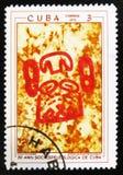 Peintures préhistoriques de roche, le ` de série le 30ème anniversaire du ` spéléologique cubain de société, vers 1970 Photo libre de droits
