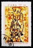 Peintures préhistoriques de roche, le ` de série le 30ème anniversaire du ` spéléologique cubain de société, vers 1970 Image stock