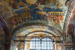 Peintures religieuses historiques de fresque sur le plafond de l'église Élijah le prophète Image stock