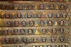 Peintures uniques de plafond dans l'église de Debre Birhan Selassie, Gondar, Ethiopie Image stock