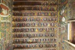 Peintures uniques de plafond dans l'église de Debre Birhan Selassie, Gondar, Ethiopie Images libres de droits