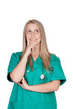 Peinzend medisch meisje Stock Foto