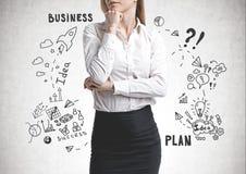 Peinzende bedrijfsvrouw, businessplan stock afbeelding
