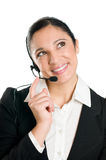 Peinzende bedrijfsvrouw met hoofdtelefoon Stock Fotografie