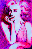 Peinzende die Inkttekening van jaren '50dame in neonroze door beelden van Marilyn Monroe wordt geïnspireerd Stock Foto's