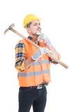 Peinzende ingenieur of aannemer met schop op zijn schouder Stock Foto's