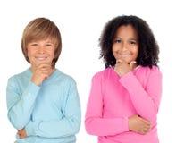 Peinzende kinderen royalty-vrije stock afbeeldingen