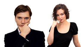 Peinzende man en vrouw Royalty-vrije Stock Foto's