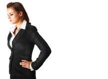 Peinzende moderne bedrijfsvrouw die op wit wordt geïsoleerd Stock Foto's