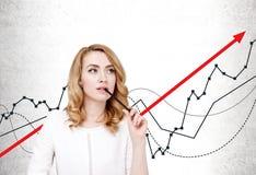 Peinzende onderneemster en het groeien grafiek royalty-vrije stock foto