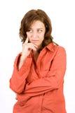 Peinzende vrouw op wit Stock Afbeelding