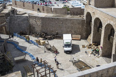 Peñiscola, Spain. September 23, 2015:  Preparations on the filming set of HBO's Game of Thrones Season six Stock Photos