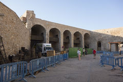 Peñiscola, Spain. September 23, 2015:  Preparations on the filming set of HBO's Game of Thrones Season six in the Old Castle of P Royalty Free Stock Images