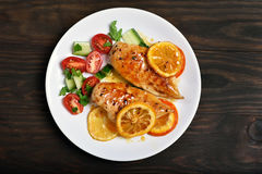 Peito de frango cozinhado, vista superior foto de stock