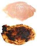 Peito de frango cru e cozinhado Fotografia de Stock