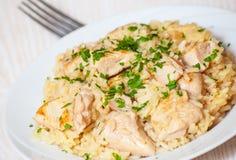 Peito de galinha com arroz Fotografia de Stock Royalty Free