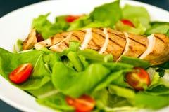 Peito de galinha cortado como o ingrediente da salada Imagens de Stock