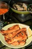 Peito de galinha panado Imagens de Stock