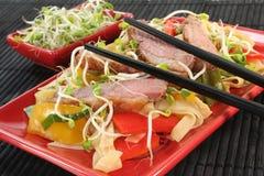 Peito de pato com macarronetes fritados Fotografia de Stock Royalty Free