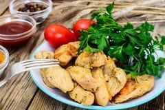 Peito de peru Roasted com ervas, sopa da abóbora e salsa no Th Imagem de Stock Royalty Free