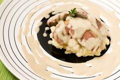 Peito de pombo com polenta Fotografia de Stock Royalty Free