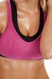 Peito suado da mulher Fotos de Stock