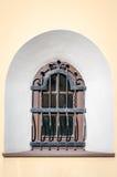 Peitoril da janela de vidro atrás das barras sob a forma de um arco em uma construção histórica em Lviv, Ucrânia Foto de Stock