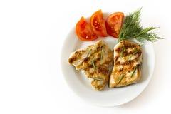 Peitos e vegetais grelhados de galinha Imagem de Stock Royalty Free