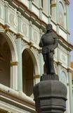 Peitschender Pfosten mit Statuette des Scharfrichters Stockfoto
