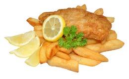 Peixe com batatas fritas Imagem de Stock