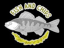 Peixe com batatas fritas 3 Ilustração Stock