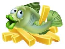 Peixe com batatas fritas dos desenhos animados Fotografia de Stock