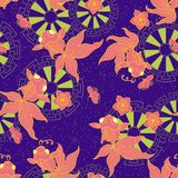 Peixe dourado com flor do pêssego ilustração royalty free