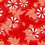 Peixe dourado com flor do pêssego ilustração do vetor
