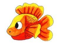 Peixe dourado engraçado adorável ilustração do vetor