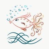 Peixe dourado gracioso nadador colorido, linhas pintadas com redemoinhos, b ilustração stock