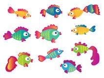 Peixes ajustados no fundo branco Fotos de Stock Royalty Free