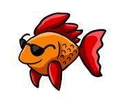 Peixes alaranjados adoráveis com óculos de sol foto de stock royalty free