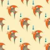 Peixes alaranjados com ornamento azul em um fundo bege ilustração do vetor